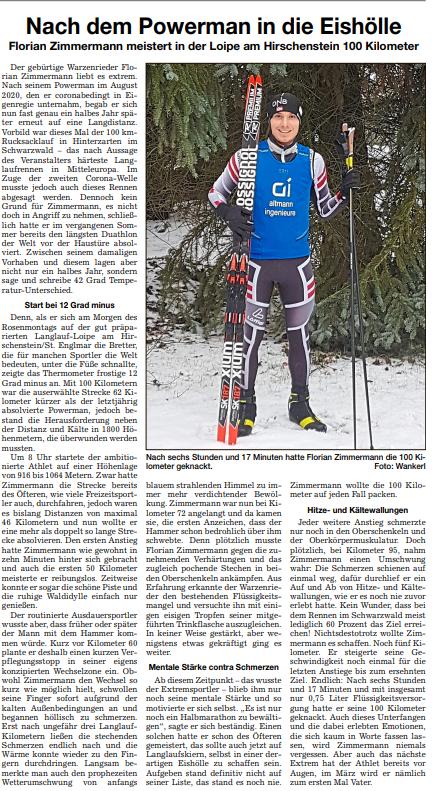 Zeitungsbericht Chamer Zeitung 100km Langlauf Florian Zimmermann